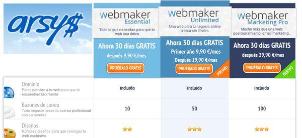precios arsys webmaker